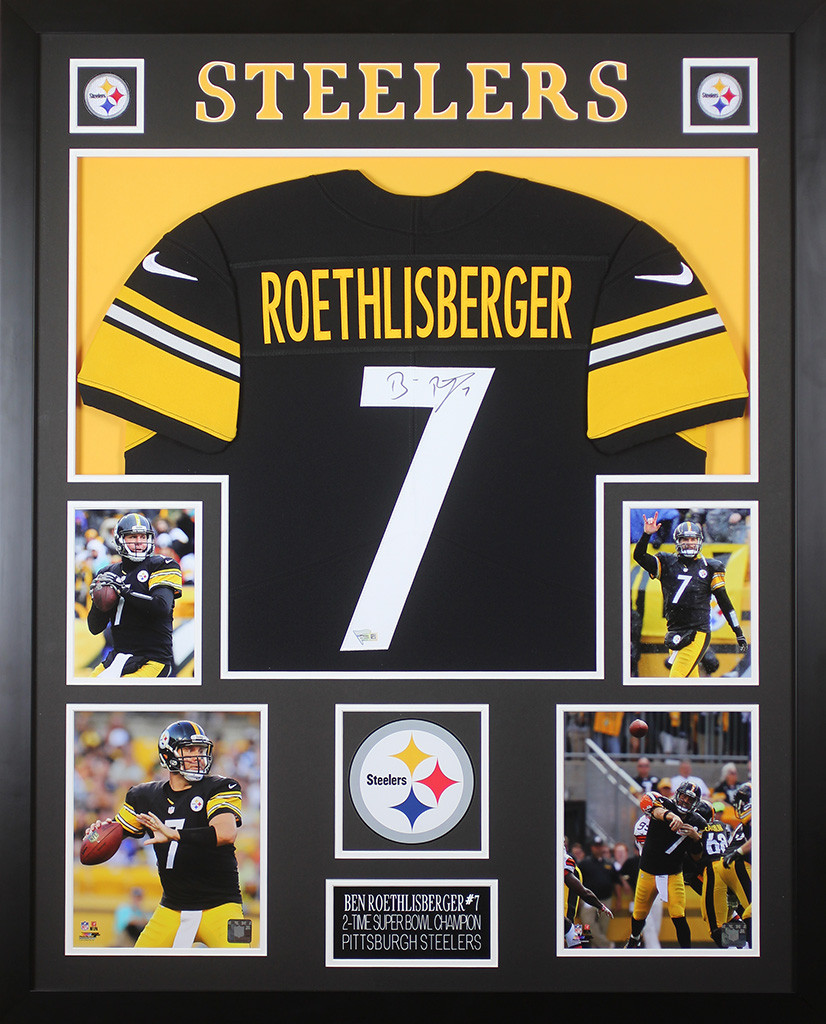 ad199c4b Ben Roethlisberger Autographed and Framed Black Pittsburgh Steelers ...