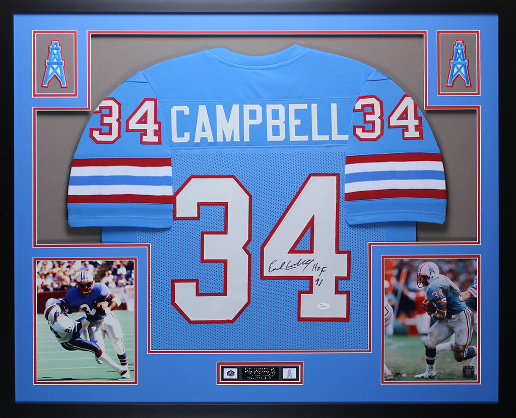 Earl Campbell Autographed HOF 91 and Framed Blue Houston Oilers Jersey Auto  JSA Certfied. Loading zoom 94b20168b