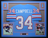 Earl Campbell Autographed HOF 91 and Framed Blue Houston Oilers Jersey Auto JSA Certfied