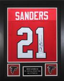Deion Sanders Autographed & Framed Red Falcons Jersey Auto JSA COA Cert