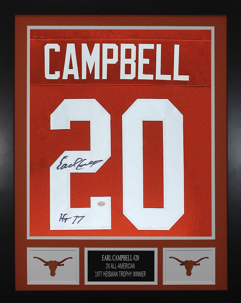 new product 84e69 85e29 Earl Campbell Autographed and Framed Longhorns Jersey