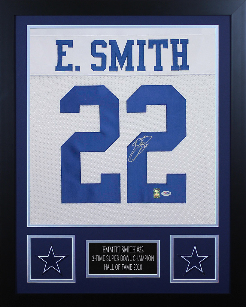 Emmitt Smith Autographed And Framed Cowboys Jersey