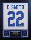 Emmitt Smith Autographed & Framed White Dallas Cowboys Jersey Auto PSA COA