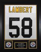 Jack Lambert Autographed & Framed White Steelers Jersey Auto JSA COA