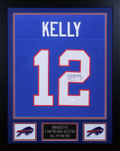 Jim Kelly Autographed and Framed Blue Buffalo Bills Jersey Auto JSA Cert