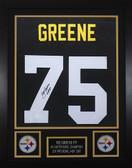 Joe Greene Autographed HOF 87 & Framed Black Steelers Jersey JSA COA
