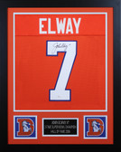 John Elway Autographed & Framed Orange Broncos Jersey Auto JSA Cert
