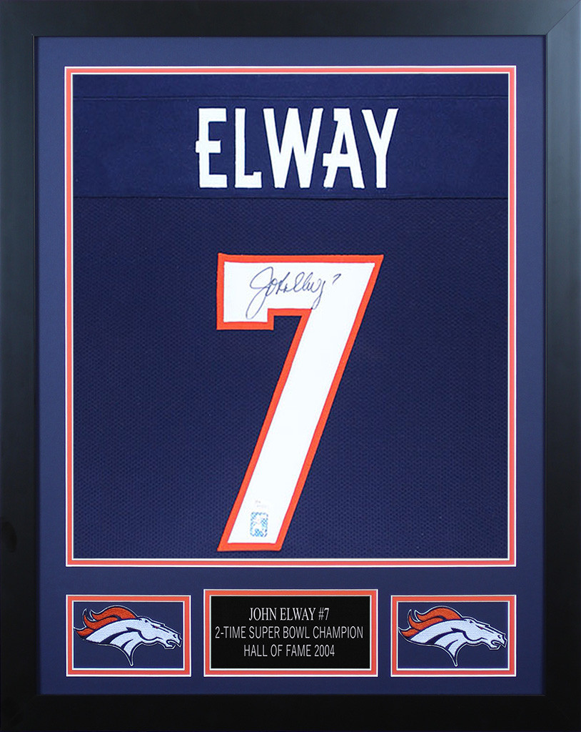 timeless design 400b9 34394 John Elway Autographed and Framed Denver Broncos Jersey