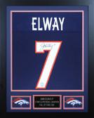 John Elway Autographed & Framed Blue Broncos Jersey Auto JSA Cert