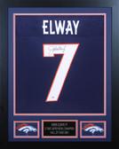 John Elway Autographed & Framed Blue Broncos Jersey Auto PSA Cert