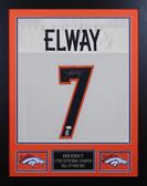 John Elway Autographed & Framed White Broncos Jersey Auto JSA Cert