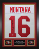Joe Montana Autographed and Framed White 49ers Jersey JSA Cert
