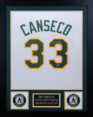Jose Canseco Autographed and Framed White Athletics Jersey Auto Leaf COA