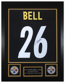 Leveon Bell Autographed and Framed Black Steelers Jersey Auto JSA COA