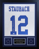 Roger Staubach Autographed & Framed White Cowboys Jersey Auto JSA Cert