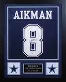Troy Aikman Autographed and Framed Blue Cowboys Jersey PSA Cert