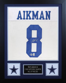 Troy Aikman Autographed & Framed White Cowboys Jersey Auto Beckett Cert