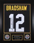 Terry Bradshaw Autographed & Framed Black Steelers Jersey Auto JSA Cert