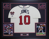 Chipper Jones Autographed and Framed Cream Braves Jersey Auto Beckett COA