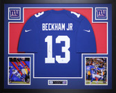 Odell Beckham Jr Autographed and Framed Blue Nike New York Giants Jersey Auto Steiner COA