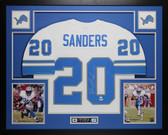 Barry Sanders Autographed & Framed White Detroit Lions Jersey Auto PSA COA