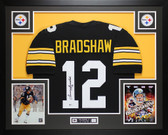 Terry Bradshaw Autographed & Framed Black Pittsburgh Steelers Jersey Auto Beckett COA