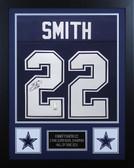 Emmitt Smith Autographed & Framed Navy Cowboys Jersey PSA COA D4-S