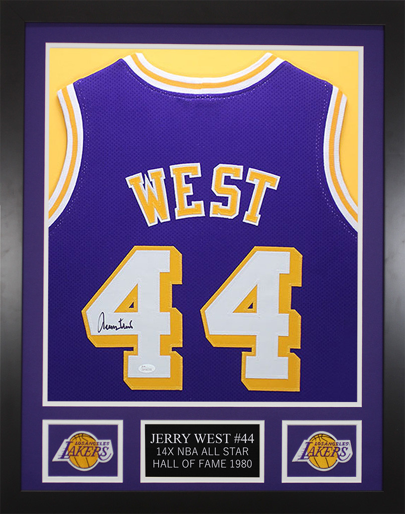 low priced b3298 a95cb Jerry West Autographed and Framed Los Angeles Lakers Jersey