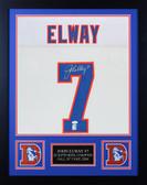 John Elway Autographed & Framed Denver Broncos White Jersey JSA COA D6-S