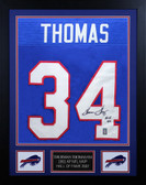 Thurman Thomas Autographed & Framed Bills Blue HOF 07 Jersey JSA COA D2-S