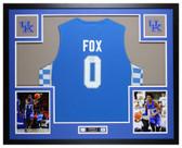 De'Aaron Fox Autographed & Framed Blue Kentucky Wildcats Jersey Auto JSA COA