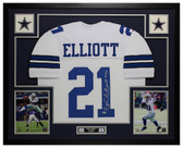 Ezekiel Elliott Autographed & Framed White Dallas Cowboys Jersey Auto Beckett COA