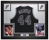George Gervin Autographed & Framed Black San Antonio Spurs Jersey Auto PSA COA