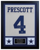 Dak Prescott Autographed & Framed White Cowboys Jersey Beckett COA D1-S
