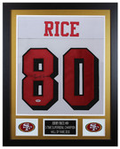 Jerry Rice Autographed & Framed White 49ers Jersey Auto PSA COA D3-S
