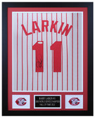 Barry Larkin Autographed & Framed White P/S Reds Jersey Auto JSA COA D1-S