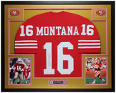 Joe Montana Autographed and Framed Red San Francisco 49ers Jersey Auto JSA Certified