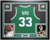 Larry Bird Autographed & Framed Green Boston Celtics Jersey Auto JSA COA