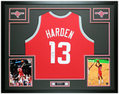 James Harden Autographed & Framed Red Rockets Jersey Auto Beckett COA