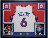 Julius Erving Autographed & Framed White 76ers Jersey Auto JSA COA