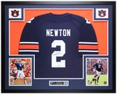 Cam Newton Autographed & Framed Blue Auburn Jersey Auto Fanatics COA
