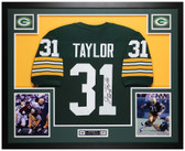 Jim Taylor Autographed & Framed Green Packers Jersey Auto JSA COA