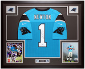 Cam Newton Autographed & Framed Blue Panthers Jersey Auto Fanatics COA
