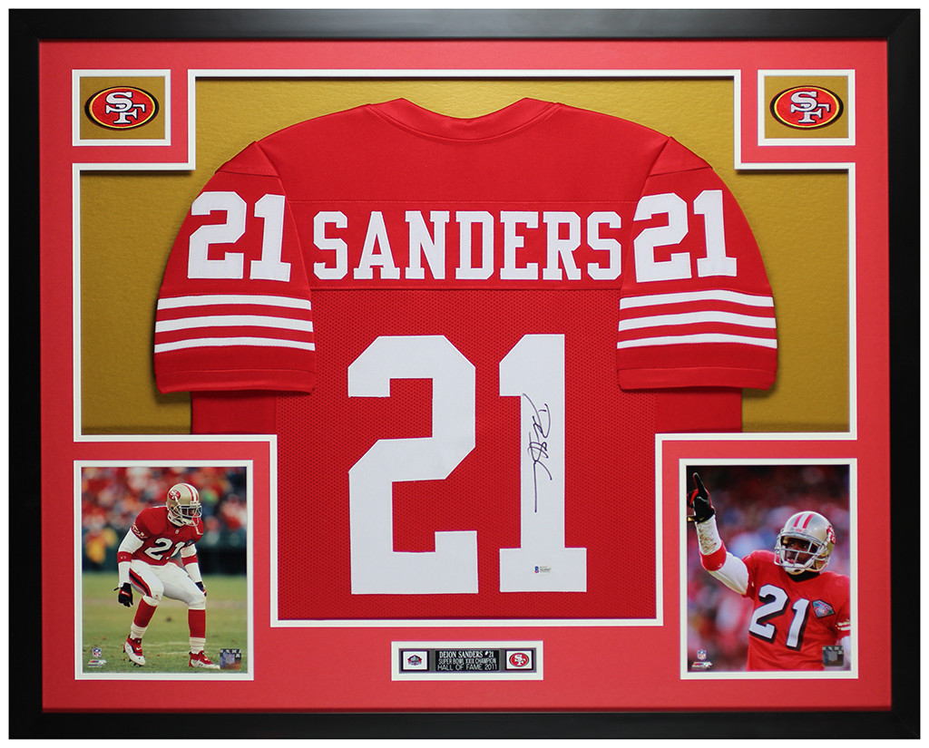 Deion Sanders Autographed and Framed San Francisco 49ers Jersey