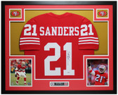 Deion Sanders Autographed & Framed Red 49ers Jersey Auto Beckett COA