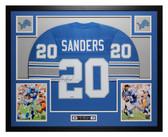 Barry Sanders Autographed & Framed Blue Detroit Lions Jersey Auto Tristar COA
