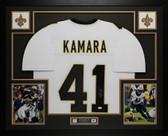 Alvin Kamara Autographed & Framed White New Orleans Saints Jersey Auto JSA COA