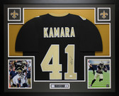 Alvin Kamara Autographed & Framed Black Saints Jersey Auto JSA COA