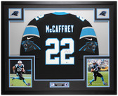 Christian McCaffrey Autographed & Framed Black Panthers Jersey Auto Beckett COA