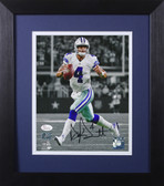 Dak Prescott Autographed & Framed 8x10 Dallas Cowboys Photo JSA COA D-8E